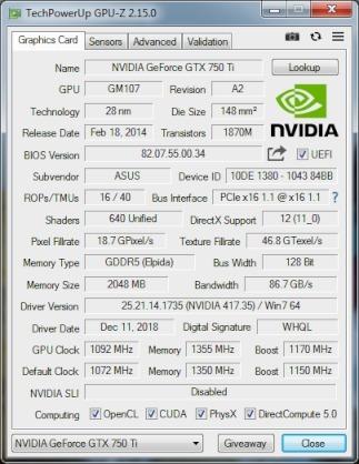 tarjeta de video pci express 3.0 asus gtx-750-ti-oc-2gb-ddr5