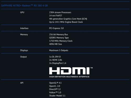 tarjeta de video sapphire nitro+ radeon rx580 4gb amd gpu