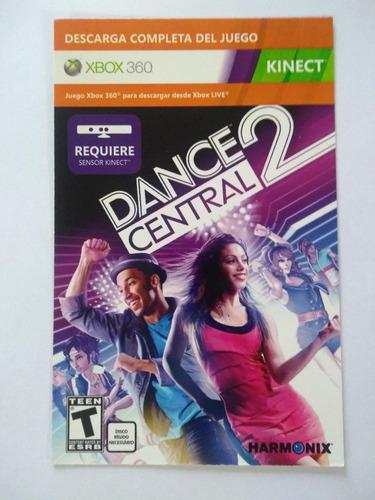 tarjeta descarga  dance central 2, para kinect, xbox 360