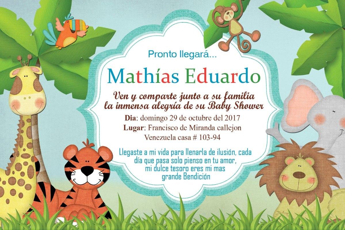 Tarjeta Dig Invitacion Safari Cumpleaños Regalo