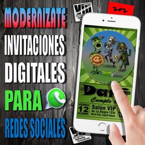 Tarjeta Digital 202 Cumpleaños Plantas Vs Zombies