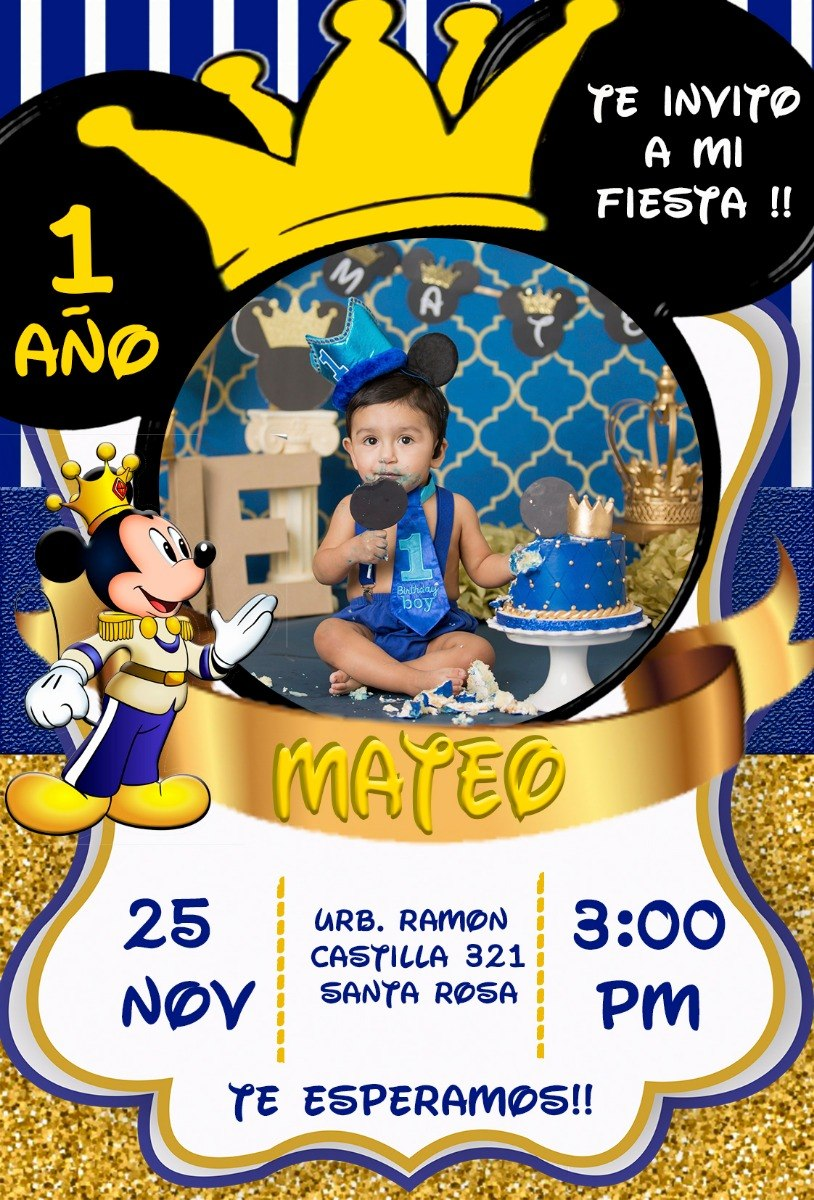 Tarjeta Digital Cumpleaños Mickey Rey Personalizada