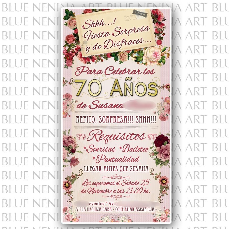 Invitaciones De Cumpleanos 70 Anos Mujer