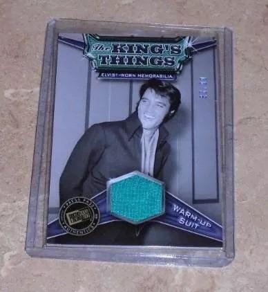 tarjeta elvis presley con pedazo de traje usado por el /99