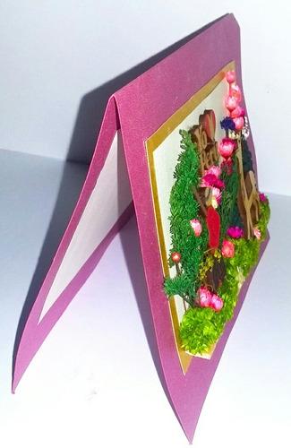 tarjeta flores secas alto relieve yo amo peru regalo navidad