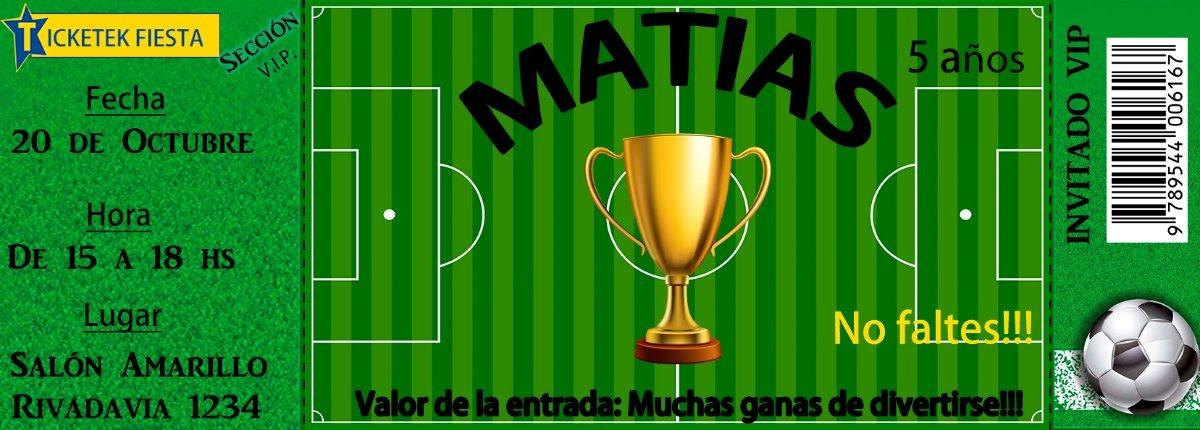 Tarjeta Futbol Cumpleaños Ticket Para Imprimir $ 5 100 en Mercado Libre