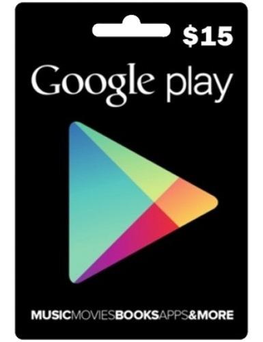 tarjeta google play 15 usd entrega en minutos