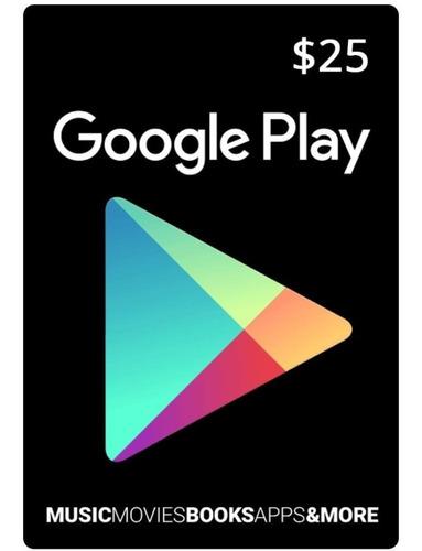 tarjeta google play 25 usd original entrega en minutos