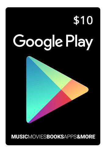 tarjeta google play android iphone celular tablet $10 $25 gb