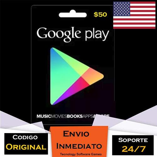 tarjeta google play store 50 usd americana entrega inmediata