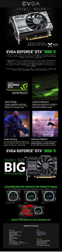 tarjeta grafica evga geforce  gtx1050 ti sc gaming 4gb gddr5
