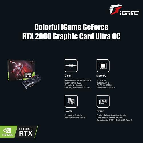 tarjeta gráfica igame geforce rtx 2060 colorida ultra oc