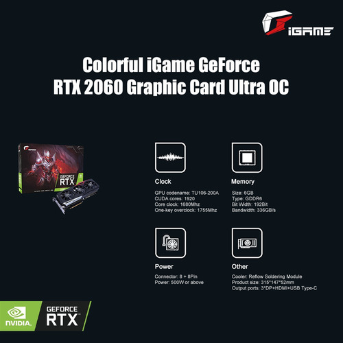 tarjeta grfica igame geforce rtx 2060 colorida ultra oc