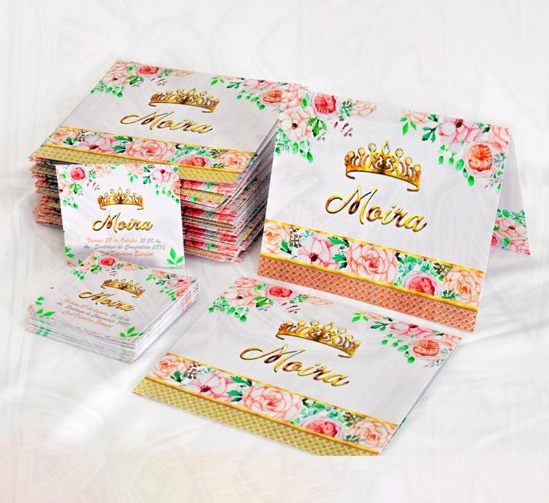 Tarjeta Invitacion 15 Años Corona Nombre Rosas