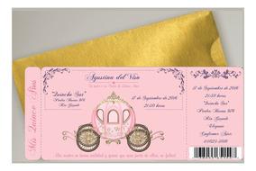 Tarjeta Invitacion 15 Años Rosa Dorado Princesa