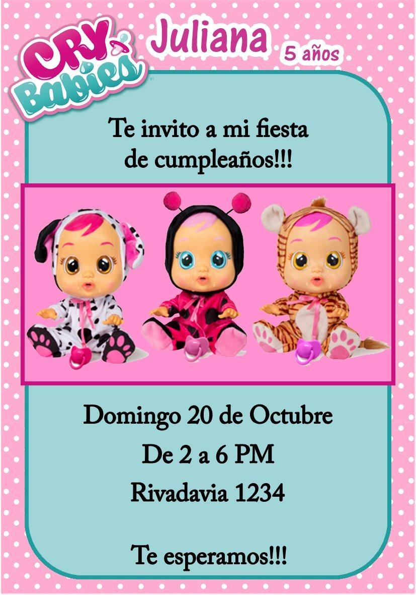 Tarjeta Invitacion Babies Cry Digital Cumpleaños