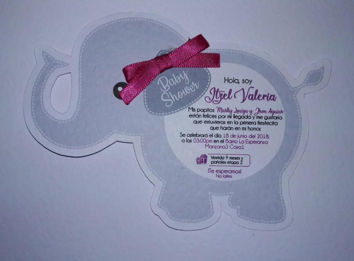 3ee1ab5d50dbe Tarjeta Invitacion Baby Shower Elefante -   1.200 en Mercado Libre