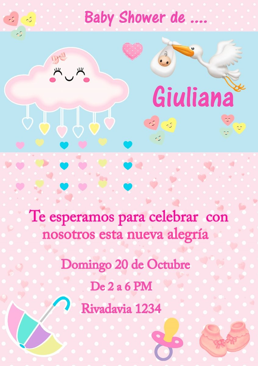 Tarjeta Invitacion Baby Shower Lluvia De Amor Imprimible