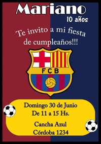 Tarjeta Invitacion Barcelona Digital Cumpleaños