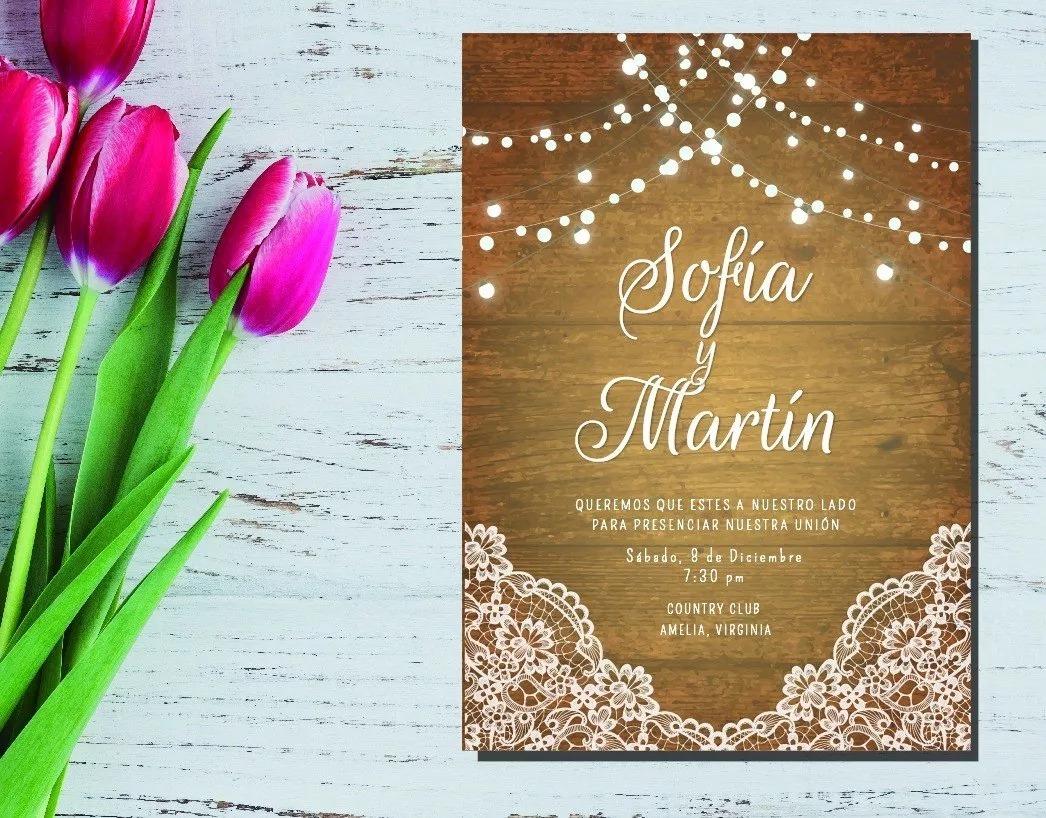 Tarjeta Invitación Boda Casamiento Imprimible Editable