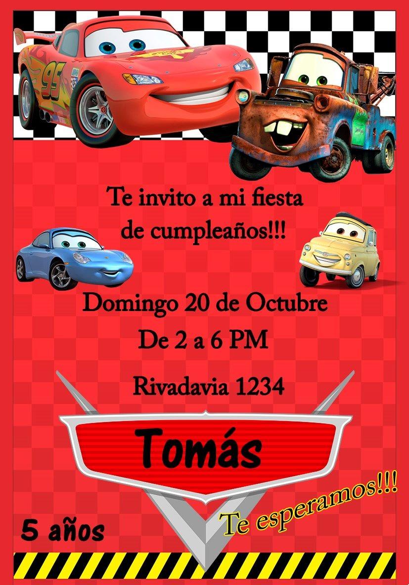 Tarjeta Invitacion Cars Digital Cumpleaños