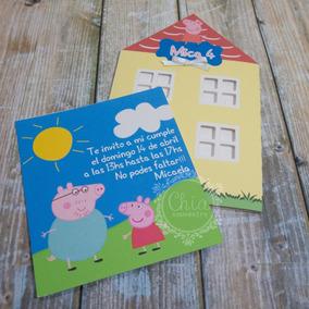 Tarjeta Invitacion Casa De Peppa Pig