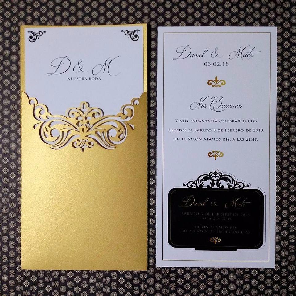 Tarjeta Invitación Corte Láser Arabescos Elegante