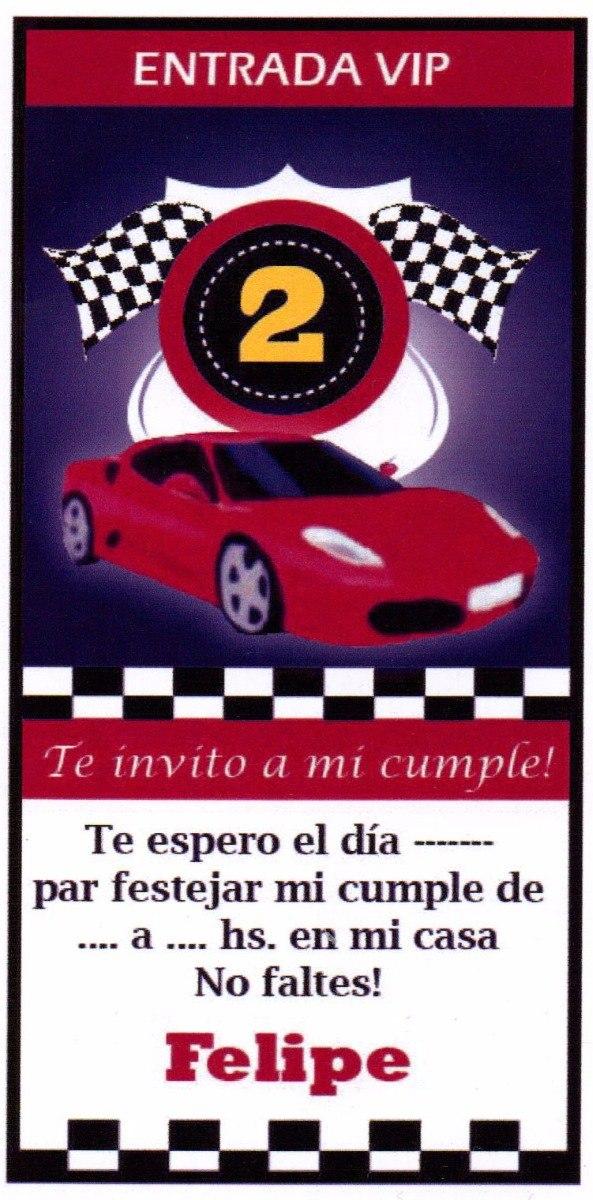 Tarjeta Invitación Cumple Infantil Auto Carrera Brillante