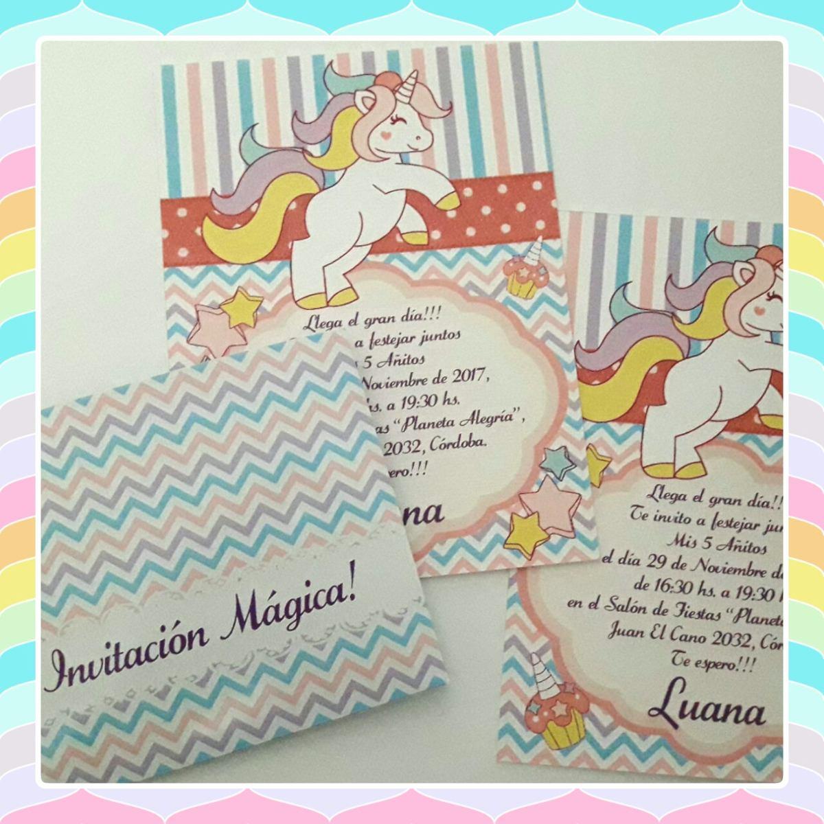 Tarjeta Invitación Cumple O Bautismo Con Sobre Unicornio