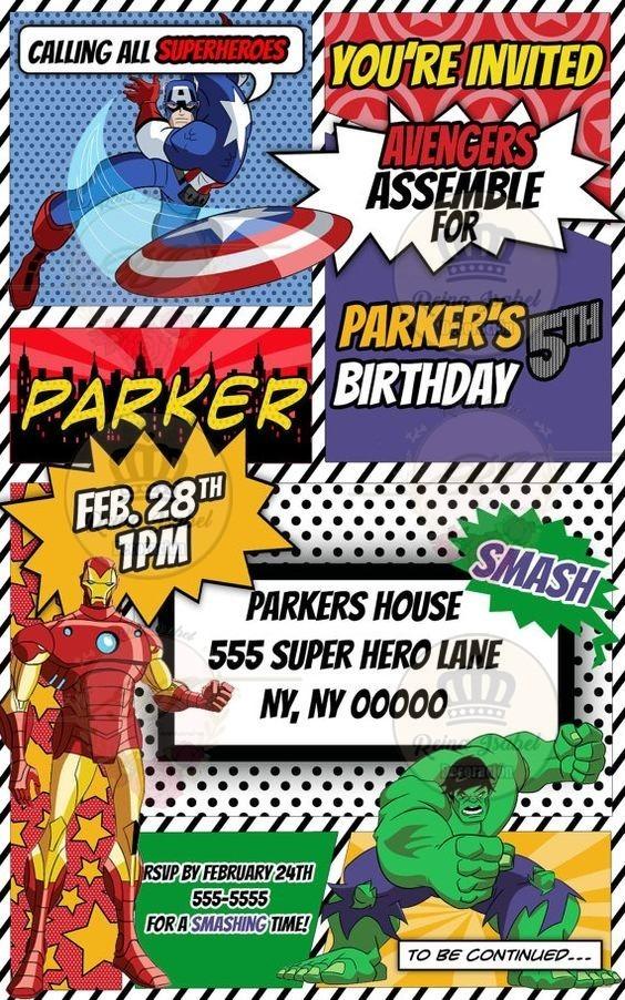 Tarjeta Invitacion Cumple Super Heroes Avengers