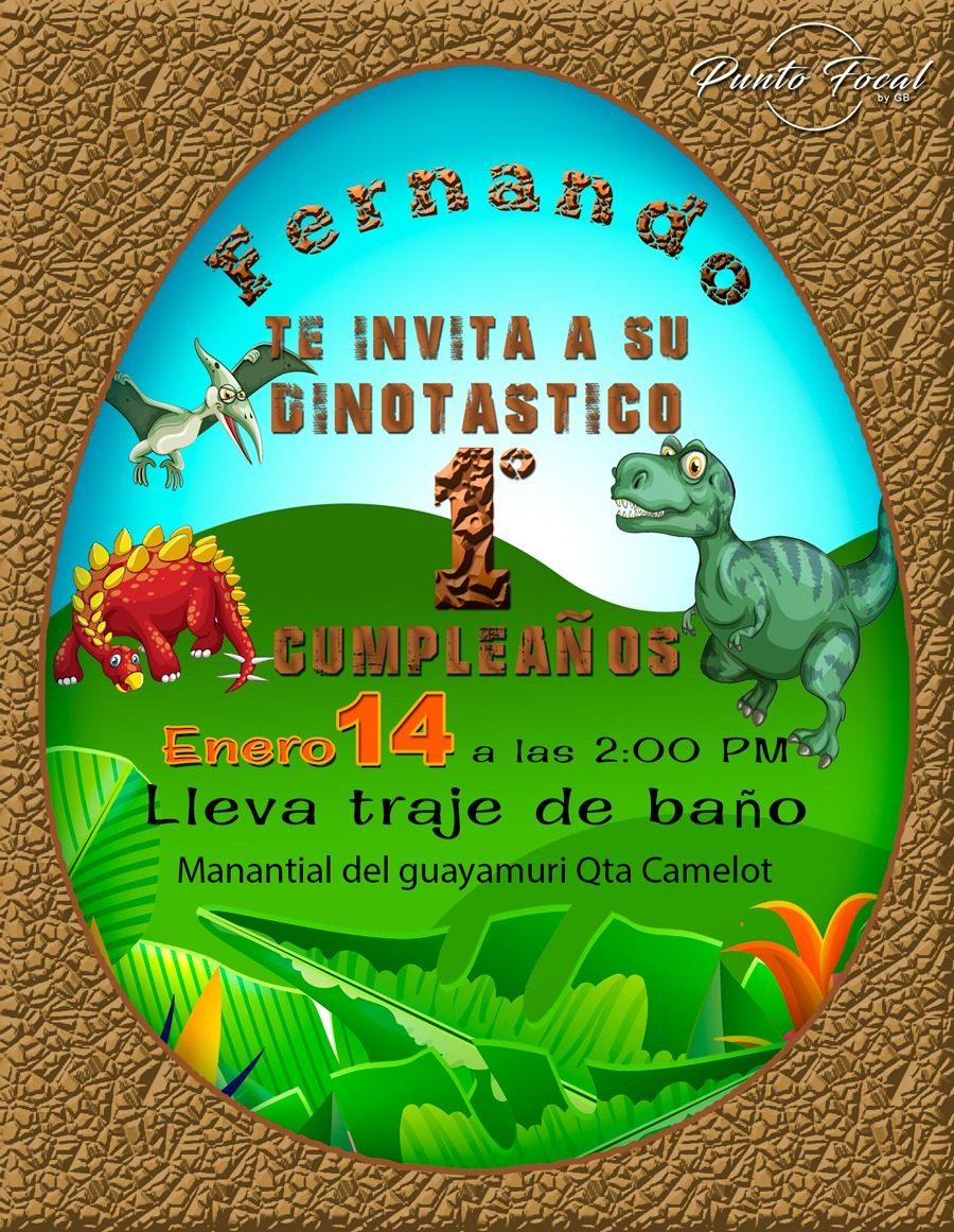 Tarjeta Invitación Cumpleaño Infantil Dinosaurio Imprimible