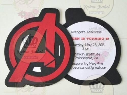 Tarjeta Invitacion Cumpleaños Avengers Personalizada
