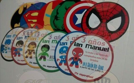 Tarjeta Invitacion Cumpleaños Avengers Super Heroes
