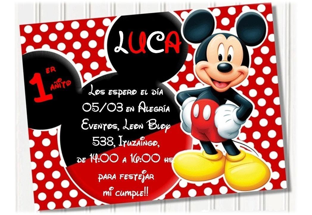 Tarjeta Invitación Cumpleaños Digital Mickey