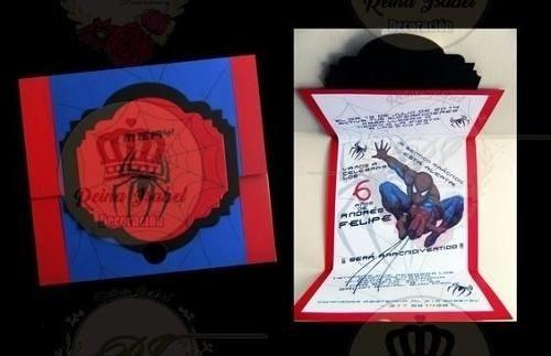 Tarjeta Invitacion Cumpleaños Hombre Araña Avengers