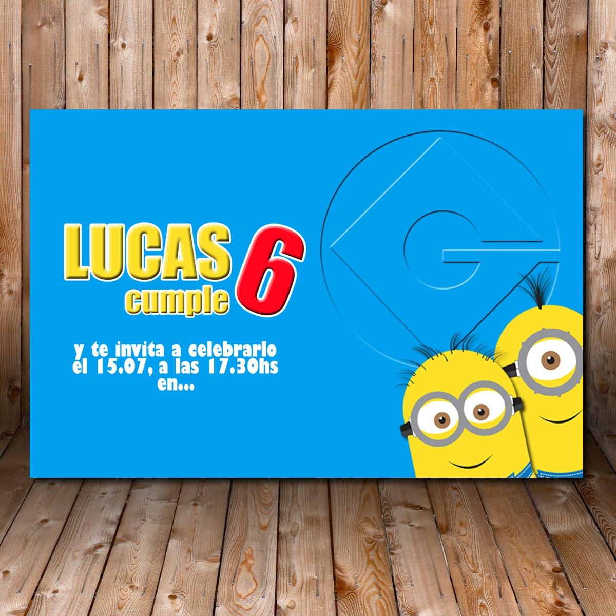 Tarjeta Invitacion Cumpleaños Imprimible Minions