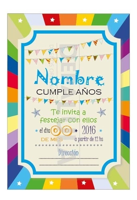 Tarjeta Invitación Cumpleaños Infantil Banderin Multicolor