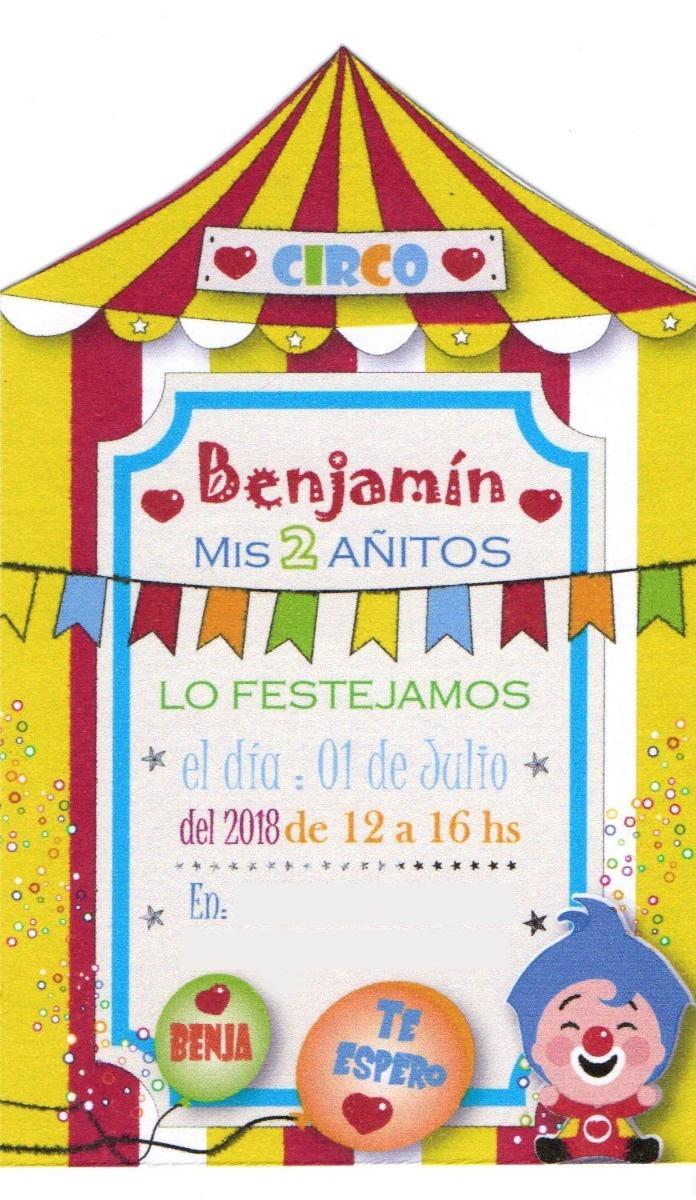 Tarjeta Invitación Cumpleaños Infantil Circo Carpa