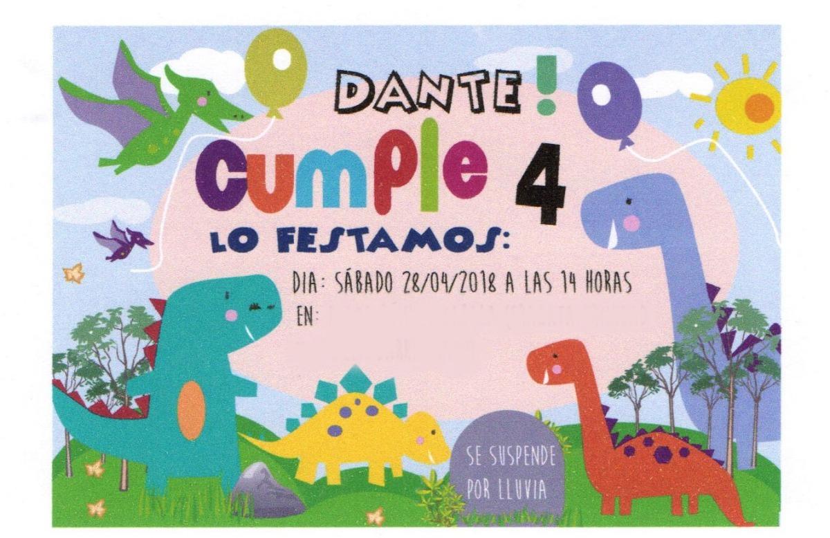 Tarjeta Invitación Cumpleaños Infantil Dinosaurios Original