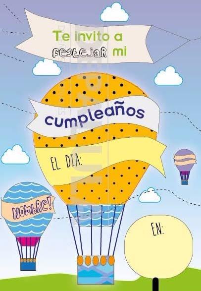 Tarjeta Invitación Cumpleaños Infantil Globo Aerostático