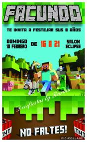 Tarjeta Invitación Cumpleaños Minecraft