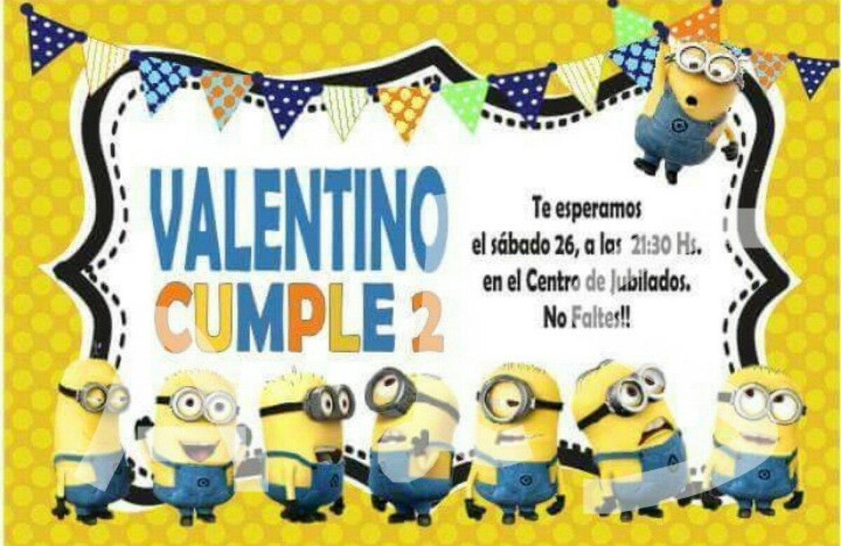 Tarjeta Invitacion Cumpleaños Minions Mickey Minie Frozen