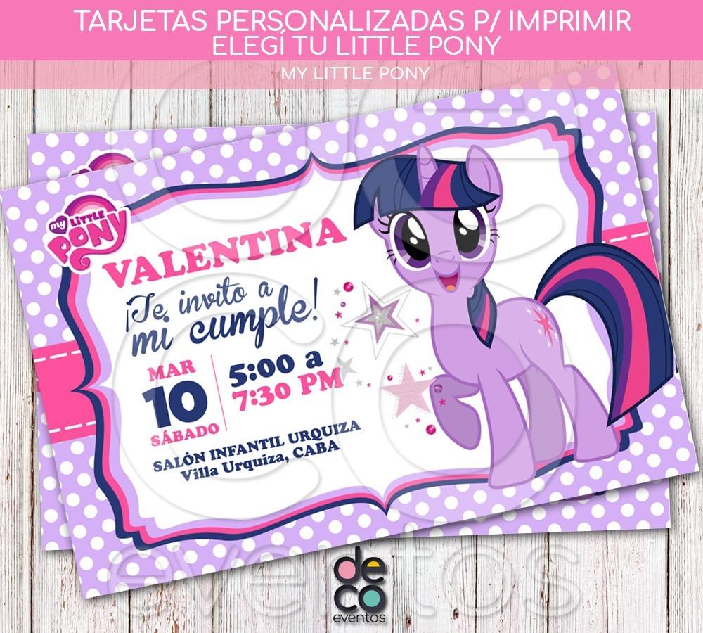 Tarjeta Invitación Cumpleaños My Little Pony P Imprimir