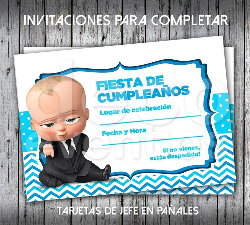 Tarjeta Invitación Cumpleaños P Imprimir Jefe En Pañales