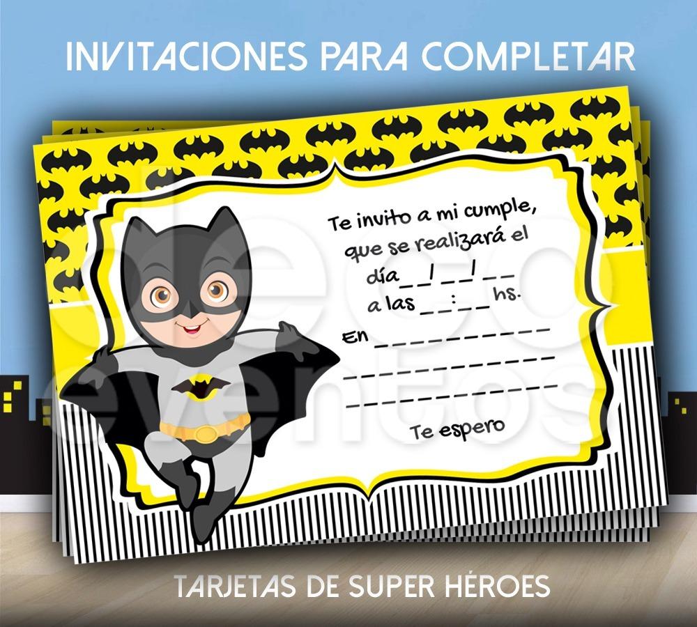 Tarjeta Invitación Cumpleaños P Imprimir Super Héroes Batman