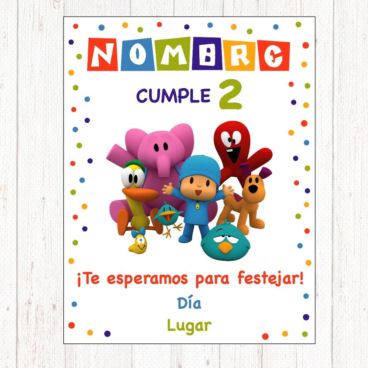Tarjeta Invitación Cumpleaños Pocoyo Digital Imprimible