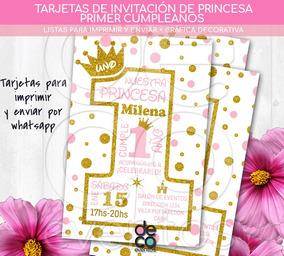 Tarjeta Invitación Cumpleaños Princesa Primer Año P Imprimir