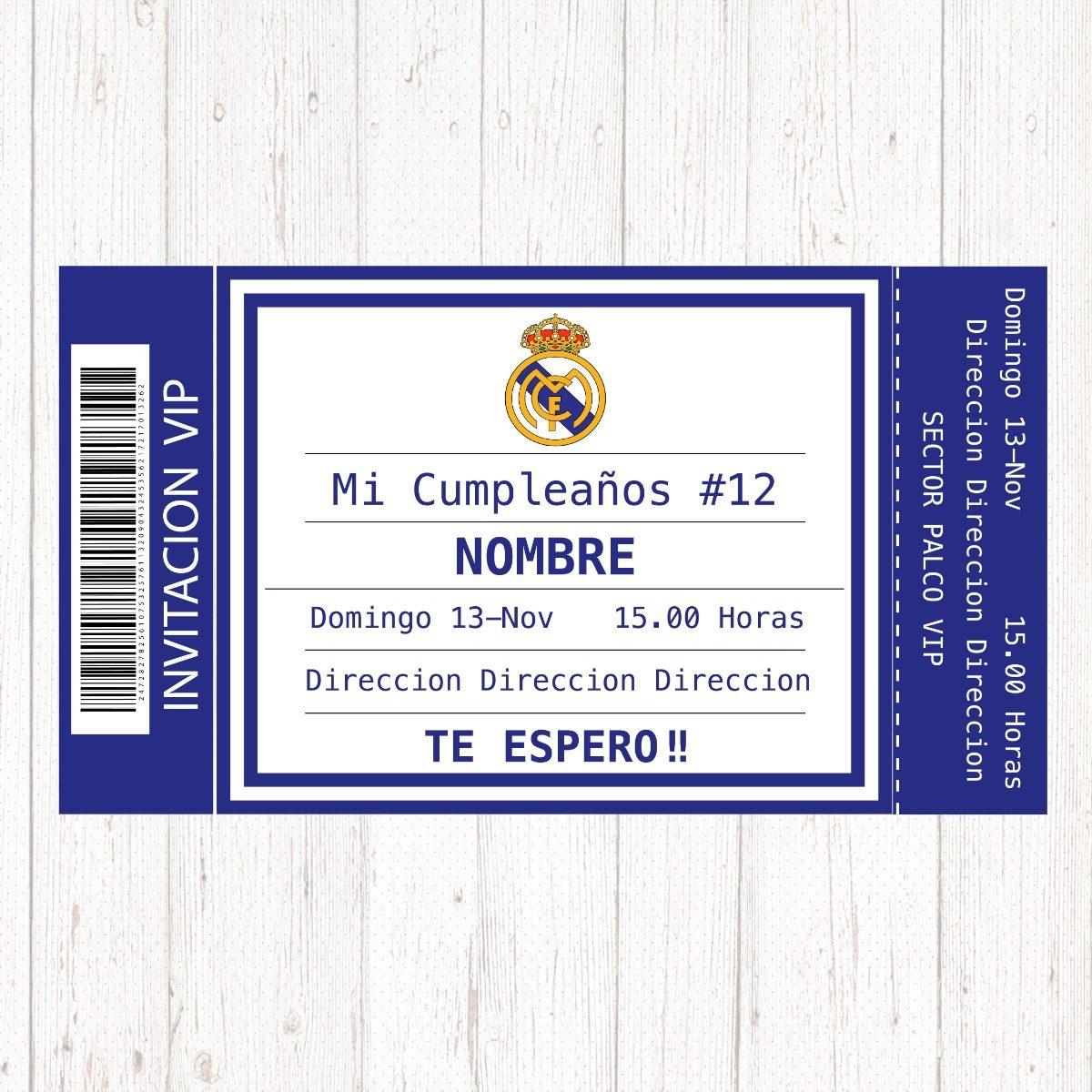Tarjeta Invitación Cumpleaños Real Madrid Digital Imprimible