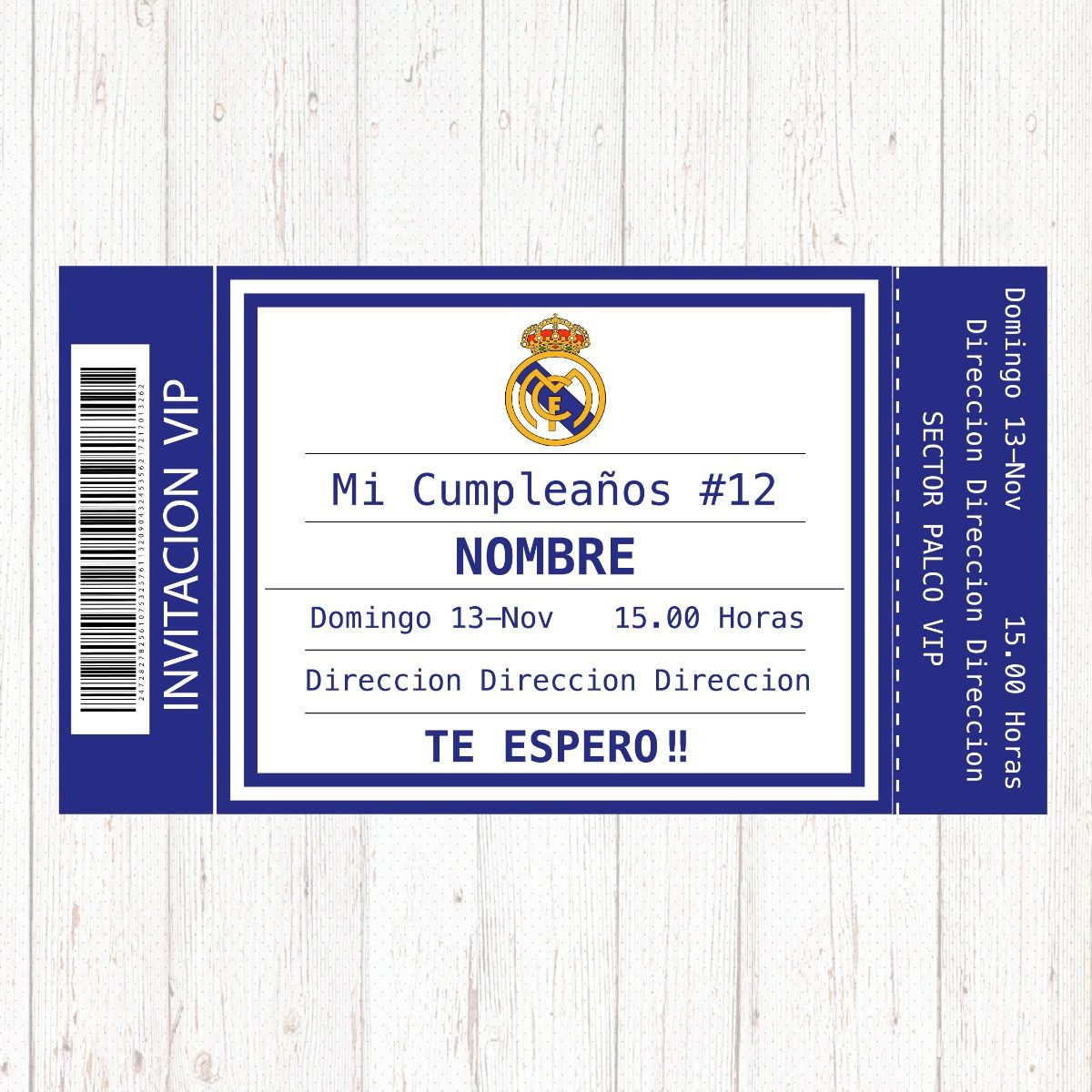 Tarjeta Invitacion Cumpleanos Real Madrid Futbol X 7unidades 97