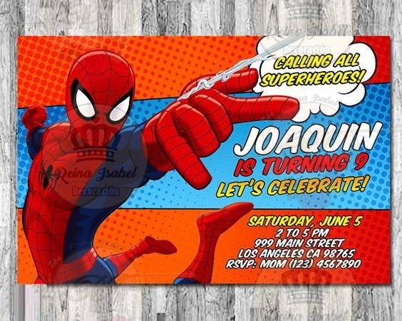 Tarjeta Invitacion Cumpleaños Super Heroe Avengers Spiderman